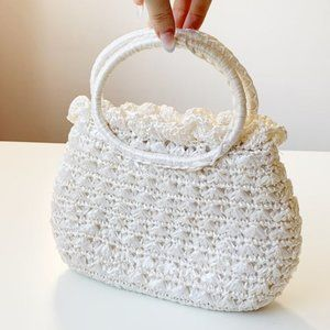 midcentury white raffia woven top handle purse